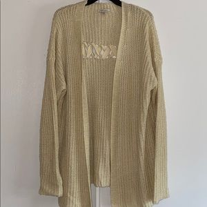 Cozy Casual Cream Knit Cardigan cross back design